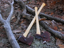 Axe Handles & Masks shown in frosty woodland setting whittleandstitch.net