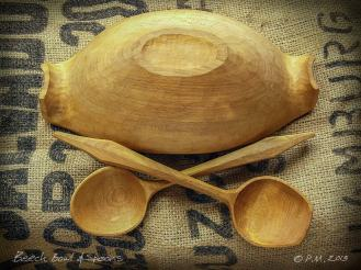 Beech Bowl & spoons underside Whittling Greenwood working hand made Treen Peter Maton Brighton 2014 whittleandstitch.net