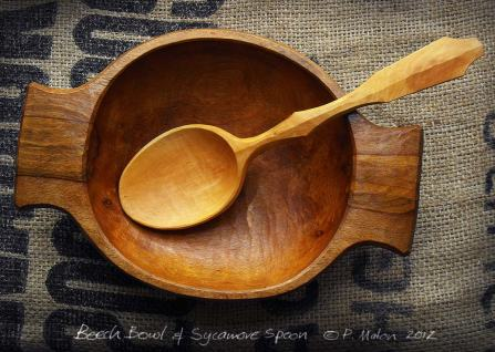 Beech Bowl & Sycamore Spoon Whittling Greenwood working hand made Treen Peter Maton Brighton 2014 whittleandstitch.net