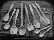 Spoons made of spalted beech B/W various sizes and designs Whittling Greenwood working hand made Treen Peter Maton Brighton 2014 whittleandstitch.net