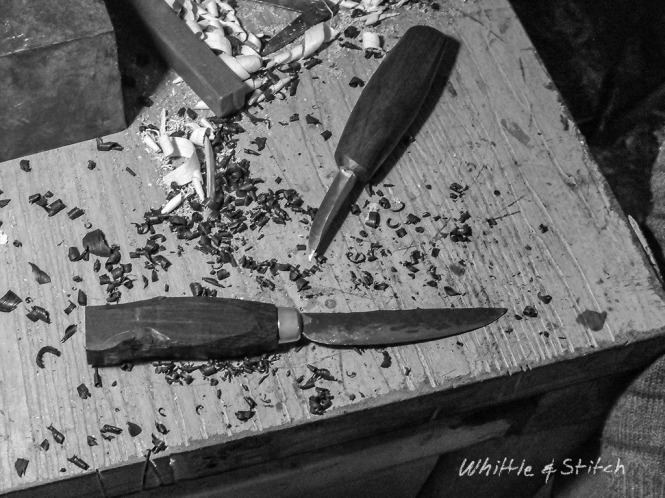 Knife Making with Bog Oak and hand forged blade. © P.Maton 2014 whittleandstitch.net