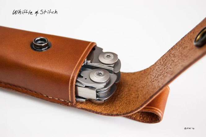 Hand stitched Leatherman Holster in saddle tan leather made by Peter Maton. Colour Landscape. © P. Maton 2014 whittleandstitch.net