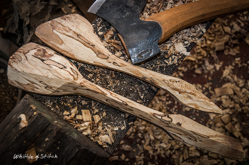 Axe wood carving, spalted Beech spoon and spatula. Hand made wood craft. Colour landscape. © P. Maton 2015 whittleandstitch.net